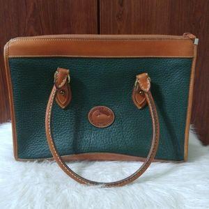 Vintage Dooney & Bourke tan & green pebble AWL